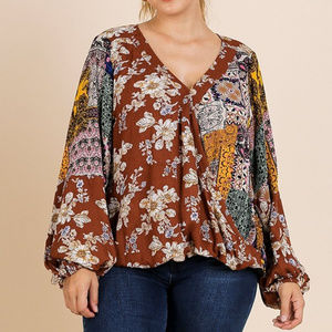 umgee mixed print long sleeve blouse